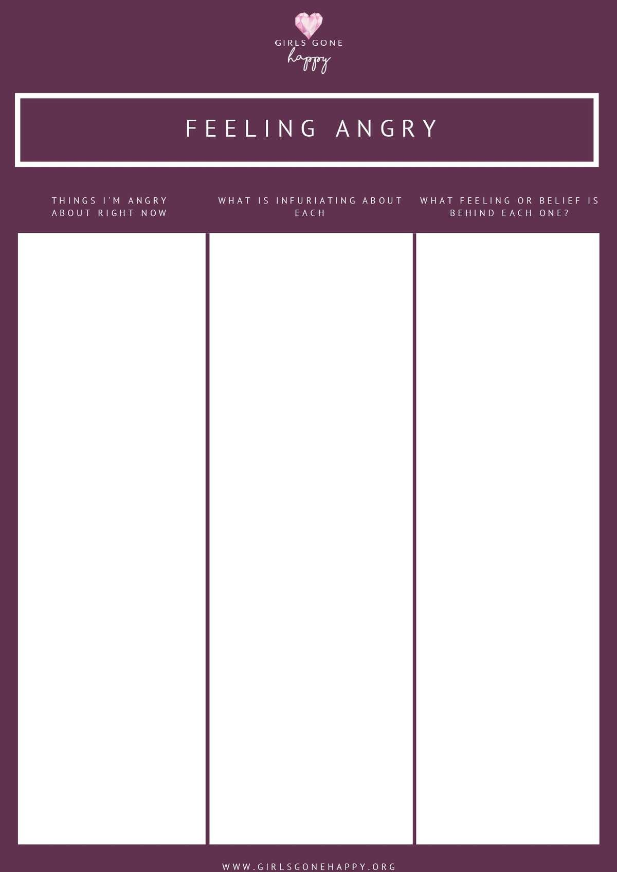 Feeling Angry Journaling List