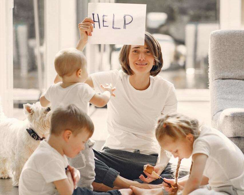 Mother with Children needing help to manage them