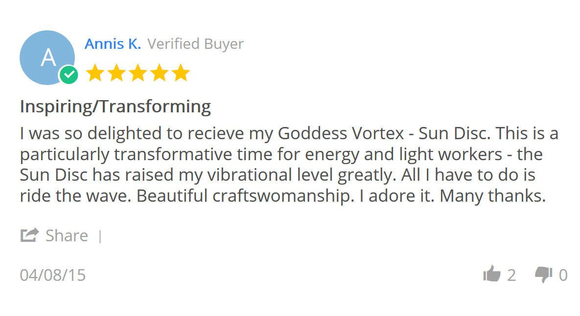 The Goddess Vortex Sun Disc Helps To Release Pain Activates