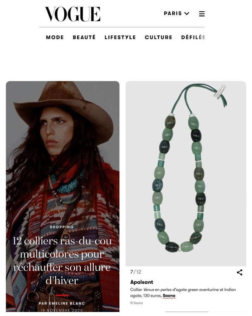 Saona Vogue Novembre 2020