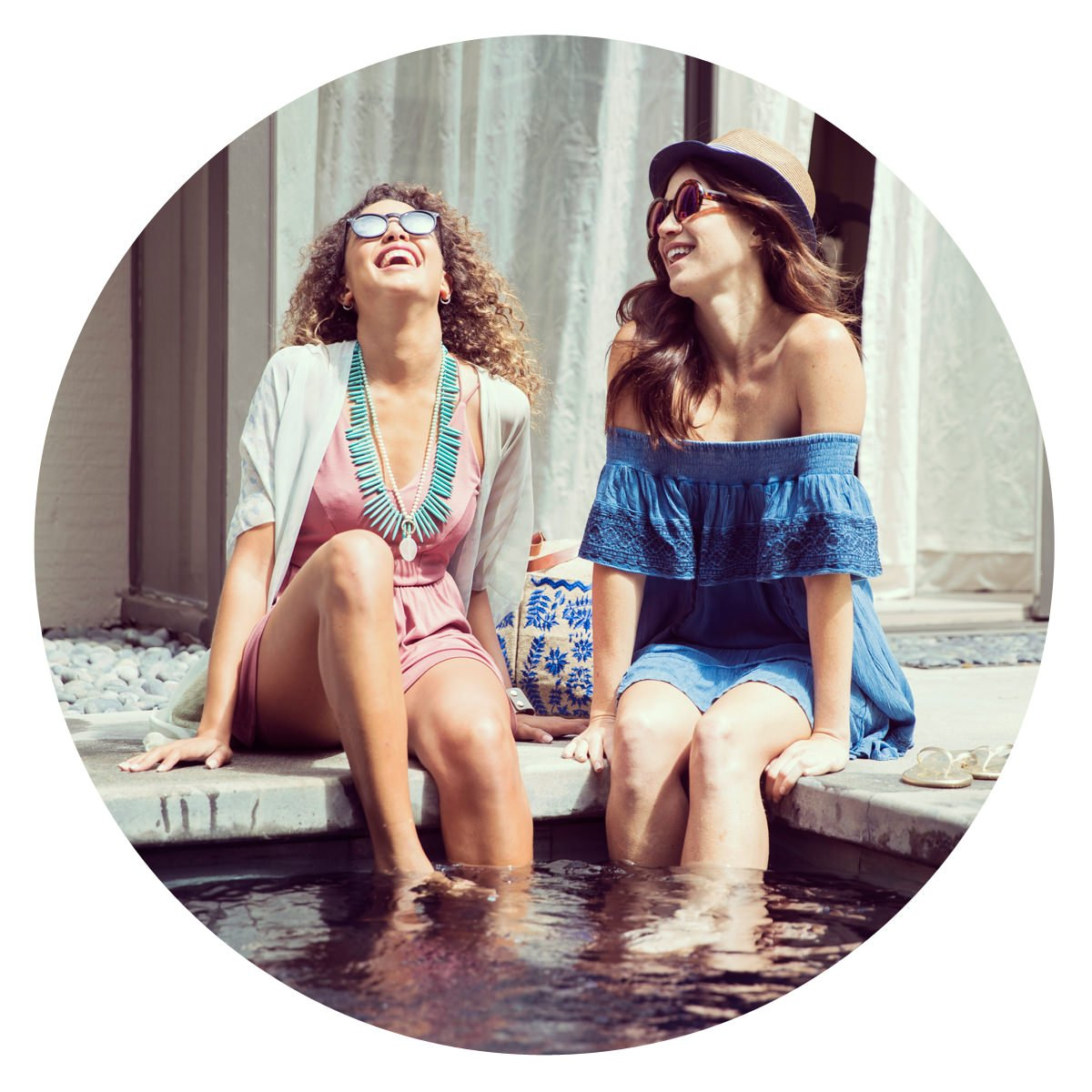 Picture of Two Women Laughing at a Pool