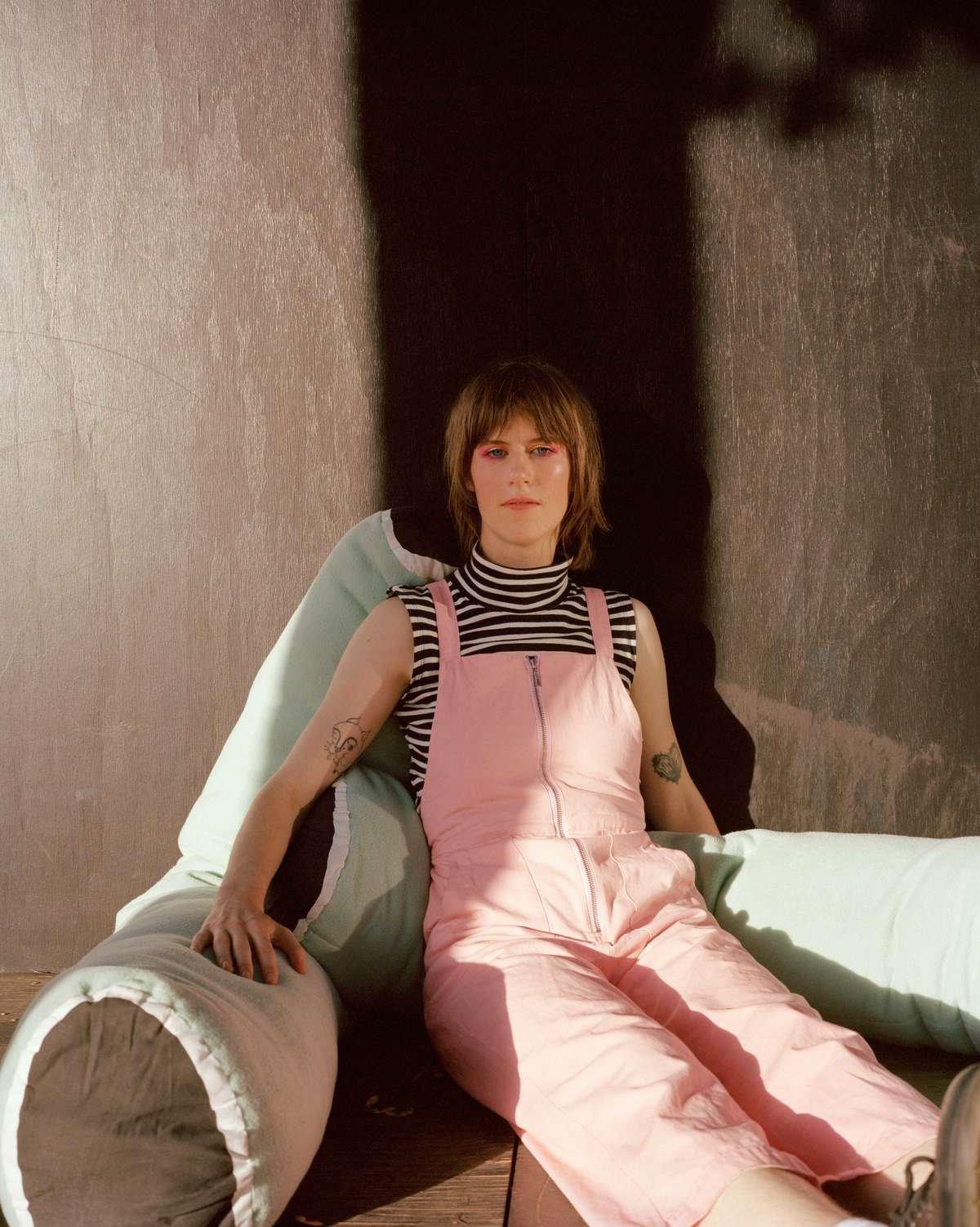 maggie jayne pink dungarees orgnaic cotton brandon brookbank amery sanford