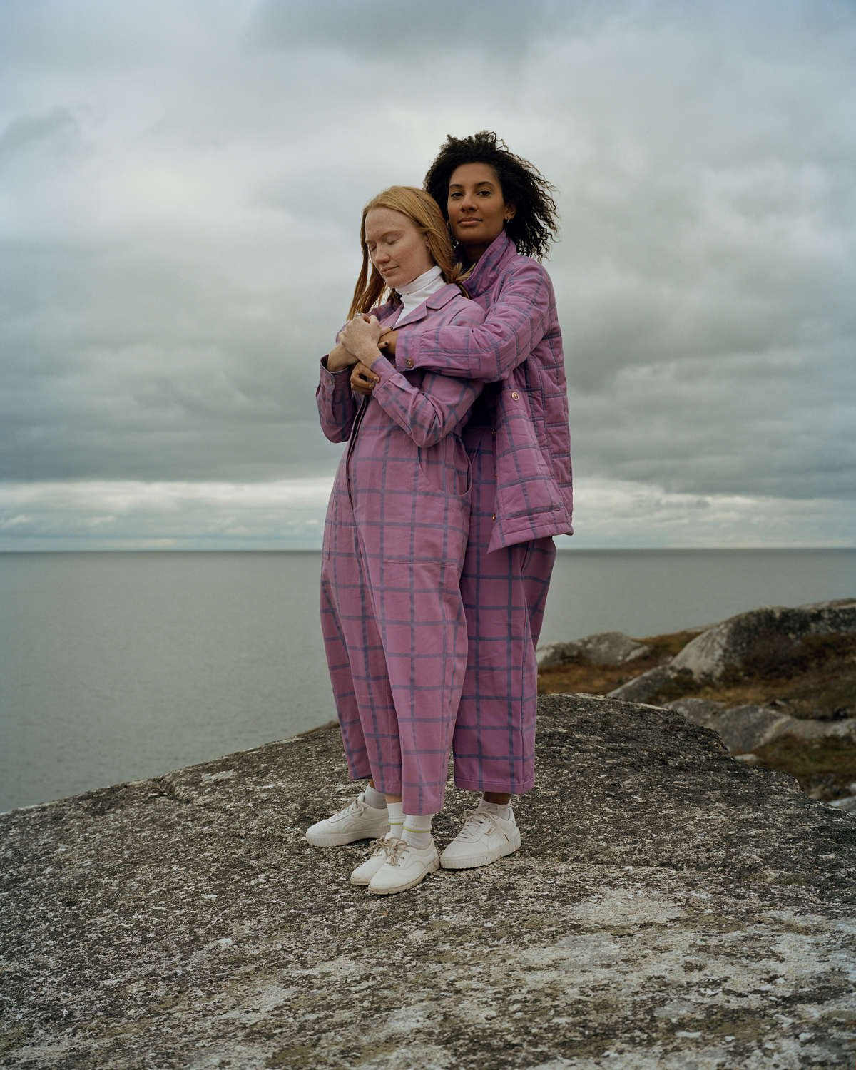 maggie jayne organic cotton pink dungarees overalls worn by Canadian artists photographed by Brandon Brookbank