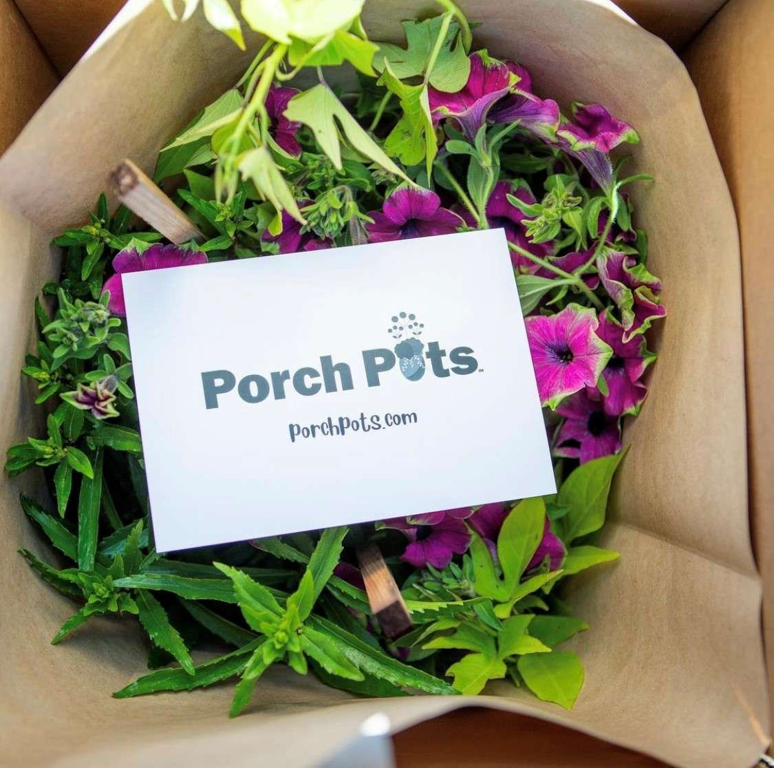 Porch Pot box filled with a beautiful plant combo and ready for shipping.