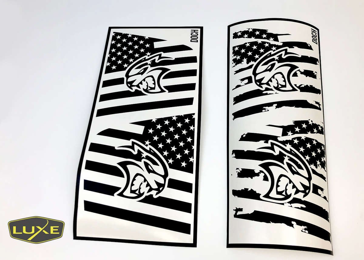 Hellcat Head  Rear Window American Flag Decal