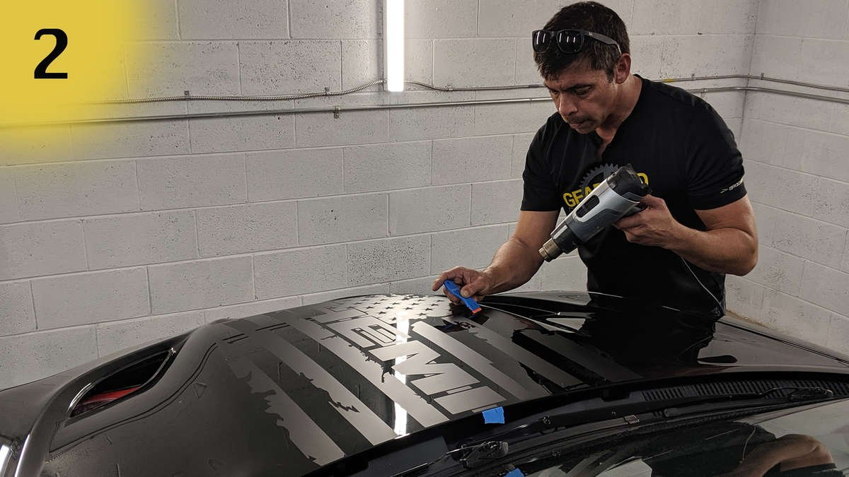 dodge, charger, challenger, hood, hood decal, vinyl decal, vinyl hood decal, hood bulge, hood bulge decal, vinyl hood bulge decal, installing vinyl decal, removing vinyl decal, vinyl decals, custom decals, rapid remover, luxe auto concepts, car show, SEMA show, custom car, custom vehicle