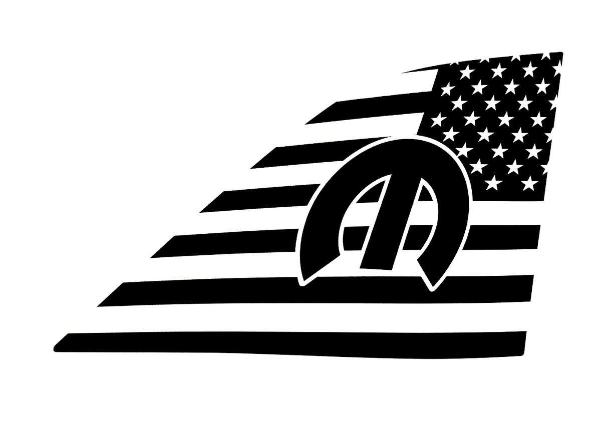 Mopar M Rear Window American Flag Decal