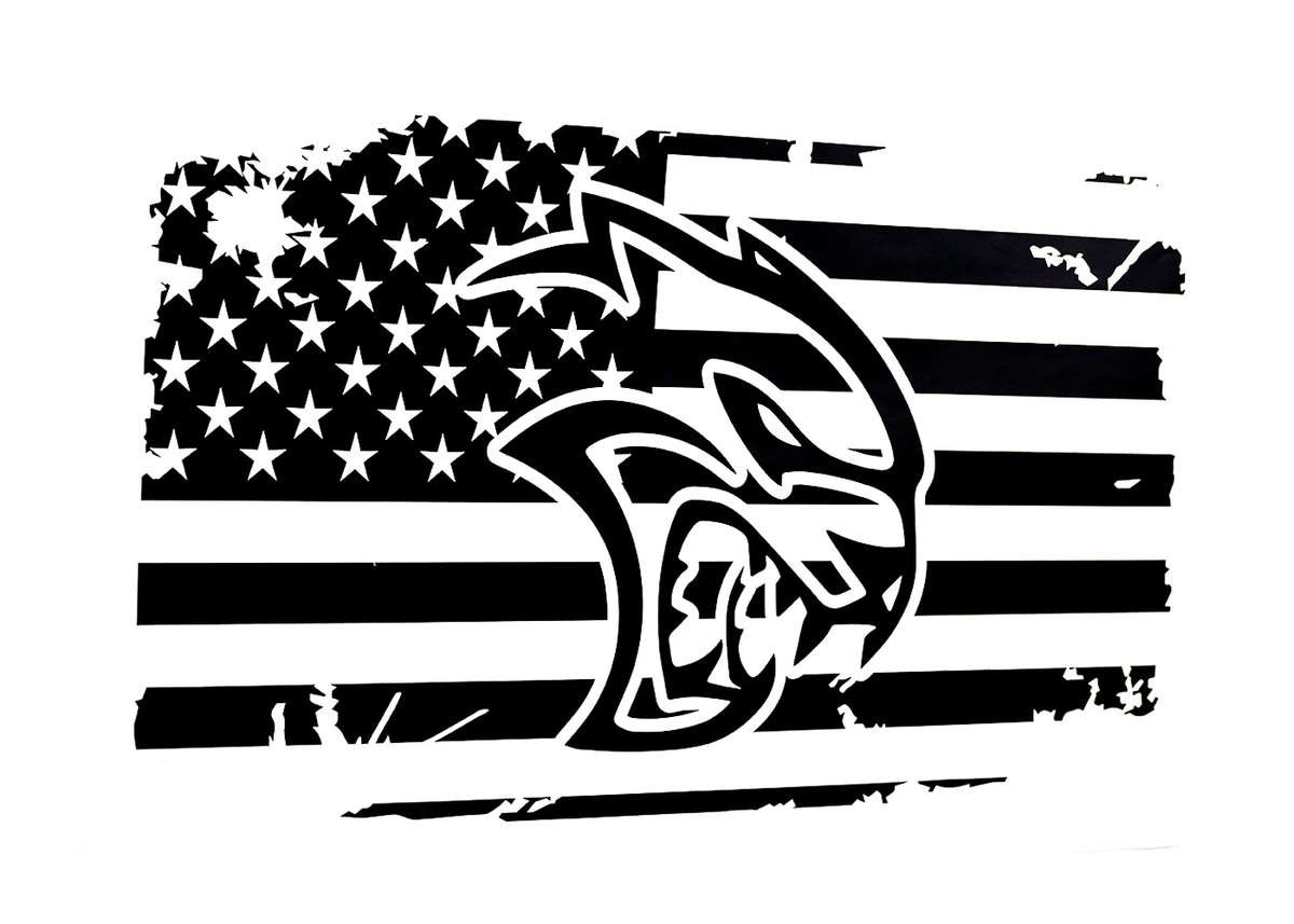 Hellcat Head  Rear Window American Flag Decal
