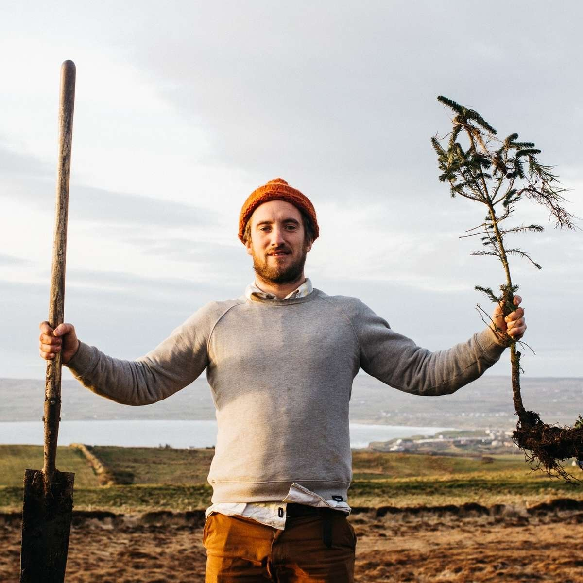 irish tree planter holds up a spade and a tree spaling
