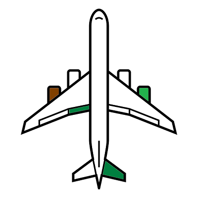 An airplane with some green and brown on the wings