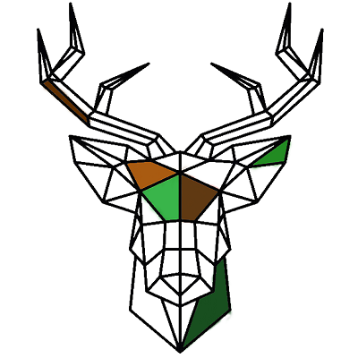 A polyglon drawing of a deer head colored in some parts, this is the symbol for the Mossy Earth Rewilding category