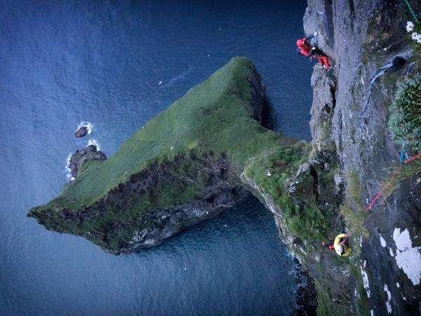 Climbing Action Faroe Islands