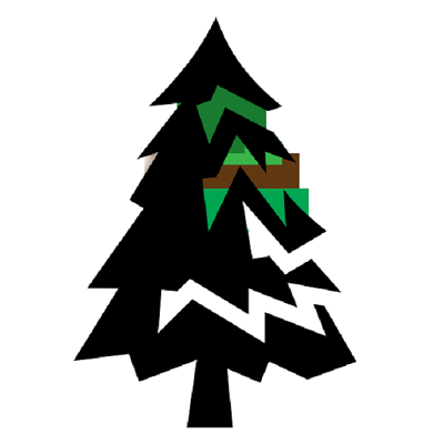 A back prine tree with green and brown added as a polyglon