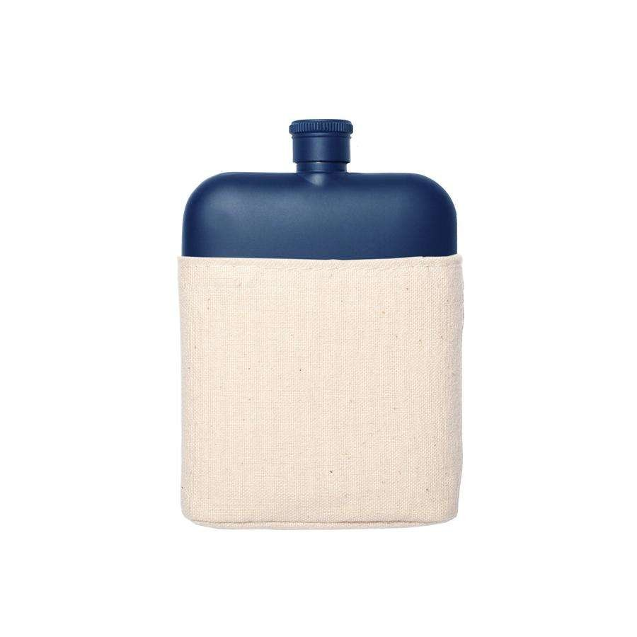 matte navy flask with canvas carrier