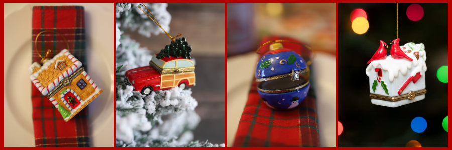 Holiday Limoges Style Ornaments
